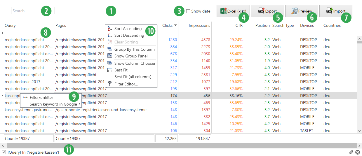 Search Console Helper - Data Set Features