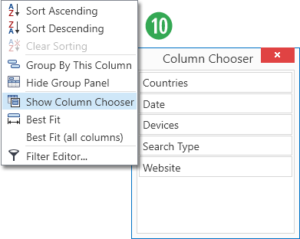 Data Set - Column Chooser