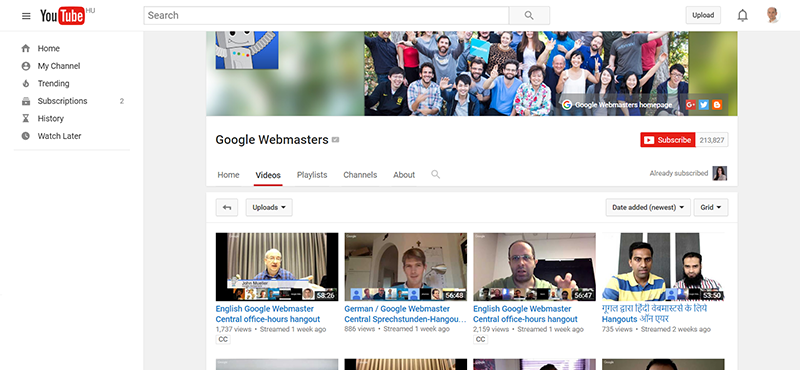 Google Webmasters YouTube Channel