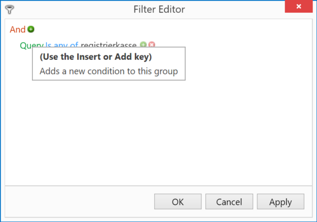 Keyword Filtering: Add new condition
