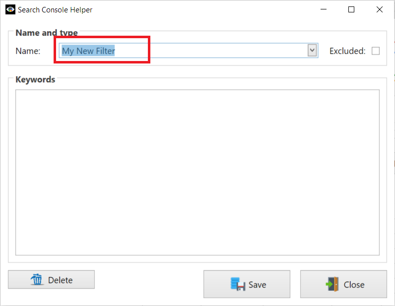 Keyword Filtering: Name