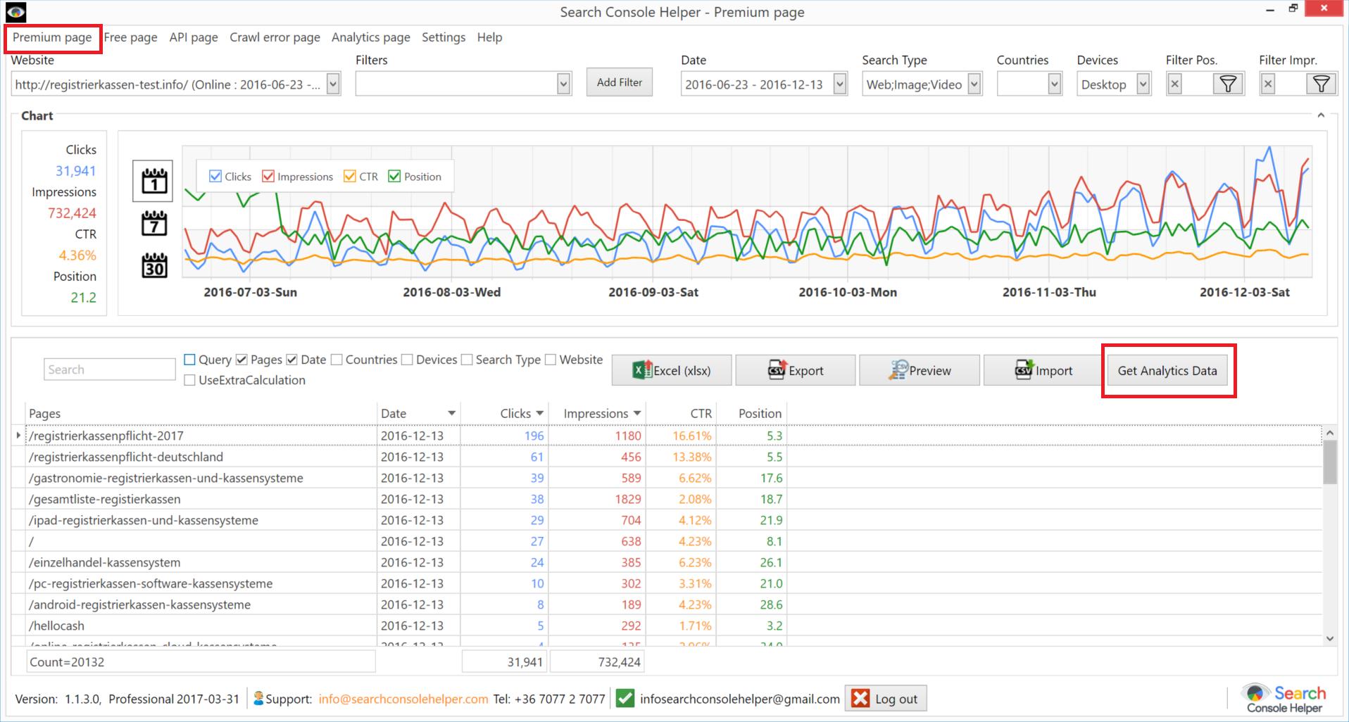 Google Analytics: Get Data