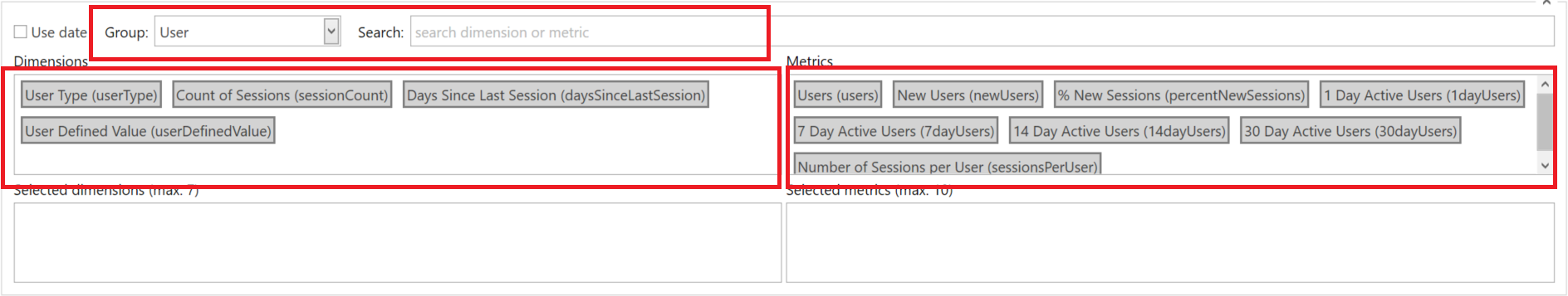 Google Analytics: Select Dimensions and Metrics