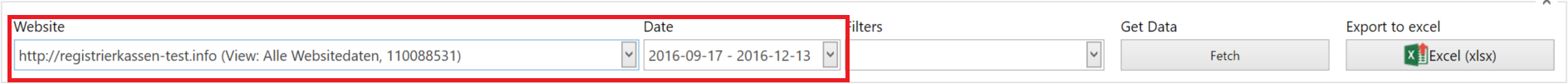 Google Analytics: Select Property and Date