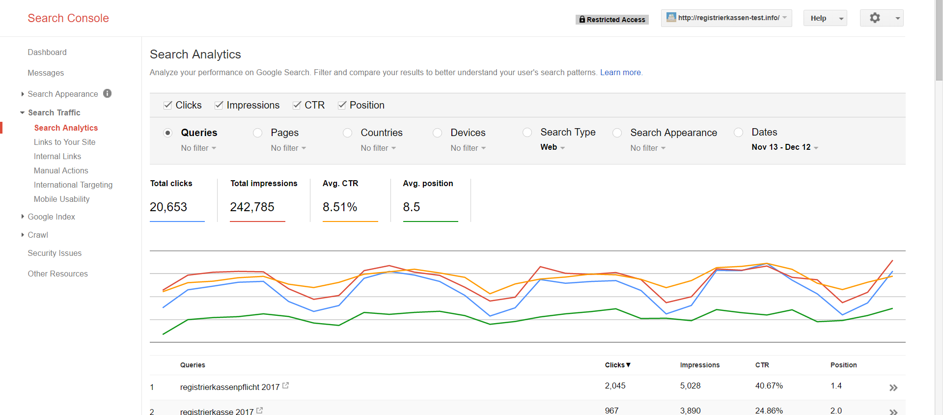 Google Search Console Review: 1000 rows limit