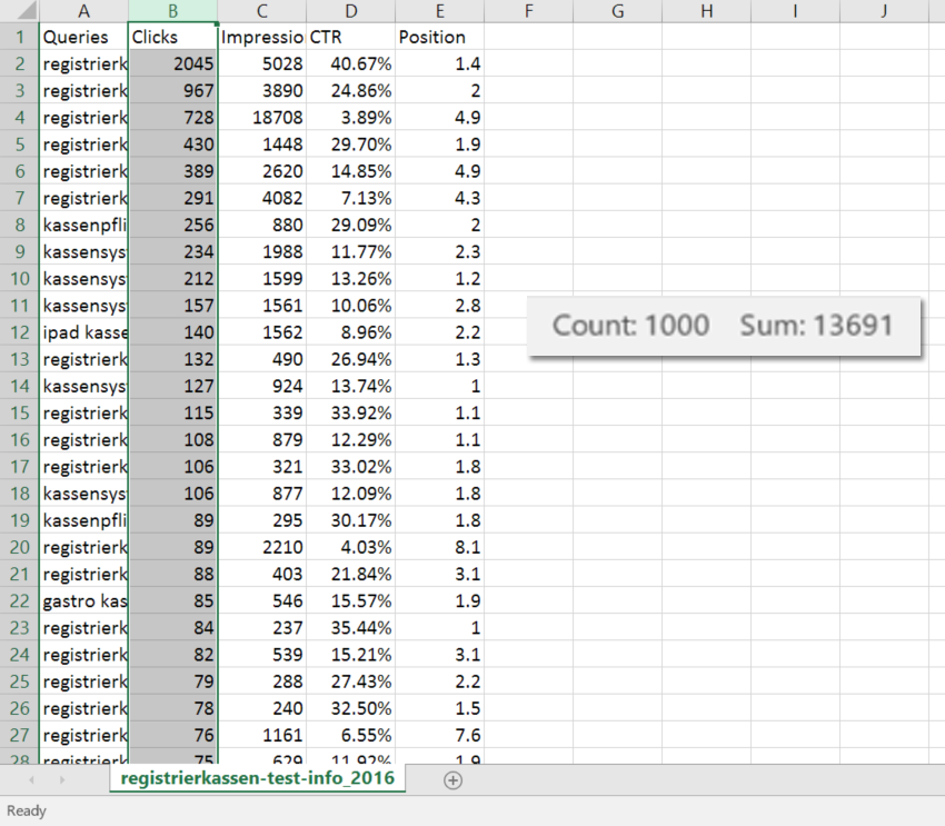 Google Search Console Review: 1000 rows Excel