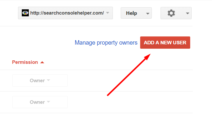 Share Google Search Control Access: Add New User