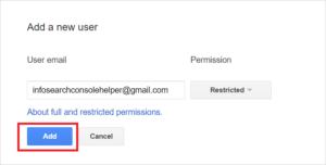 Share Google Search Console Access: Enter E-mail Address