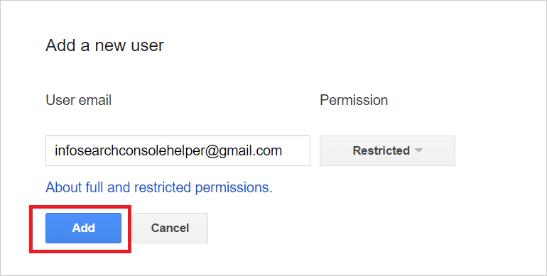 Share Google Search Console Access: Enter E-mail Address