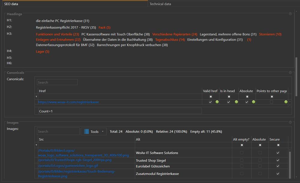 OnPage: Keywords of the webpage